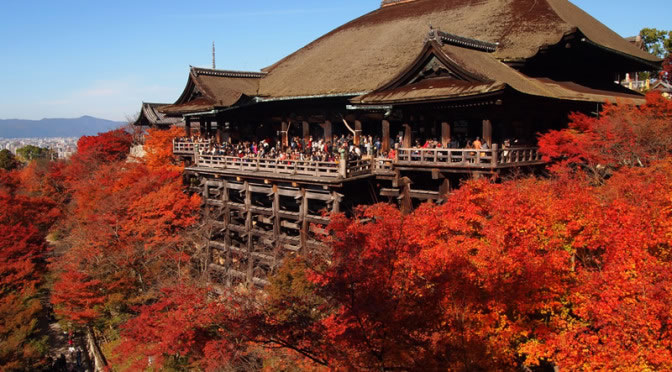 京都 清水寺の紅葉(Autumn leaves of Kiyomizudera temple in Kyoto,Japan)